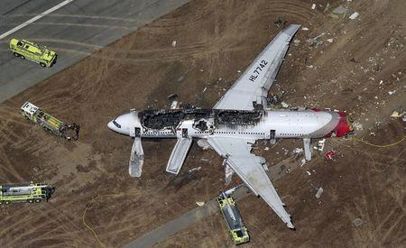 An Asiana Airlines Boeing 777 plane is seen in this aerial image after it crashed while landing at San Francisco International Airport in California
