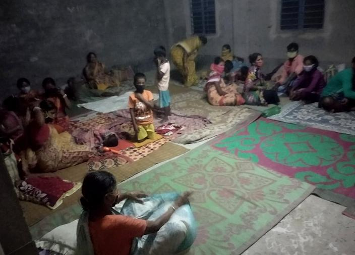 Social distancing being enforced in a cyclone shelter in India