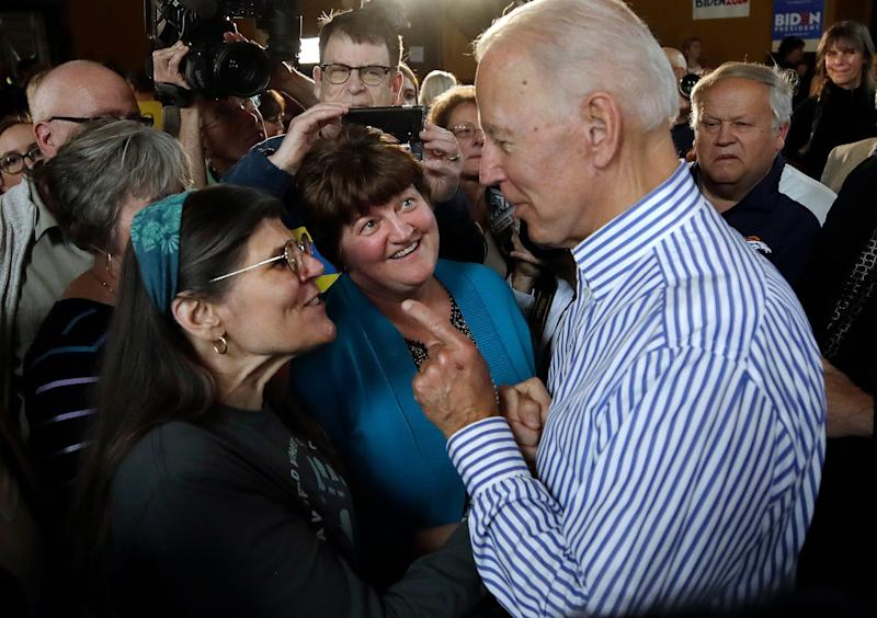 Former vice president and Democratic presidential candidate Joe Biden speaks to potential voters during a campaign event, Tuesday, June 4, 2019, in Berlin, N.H.
