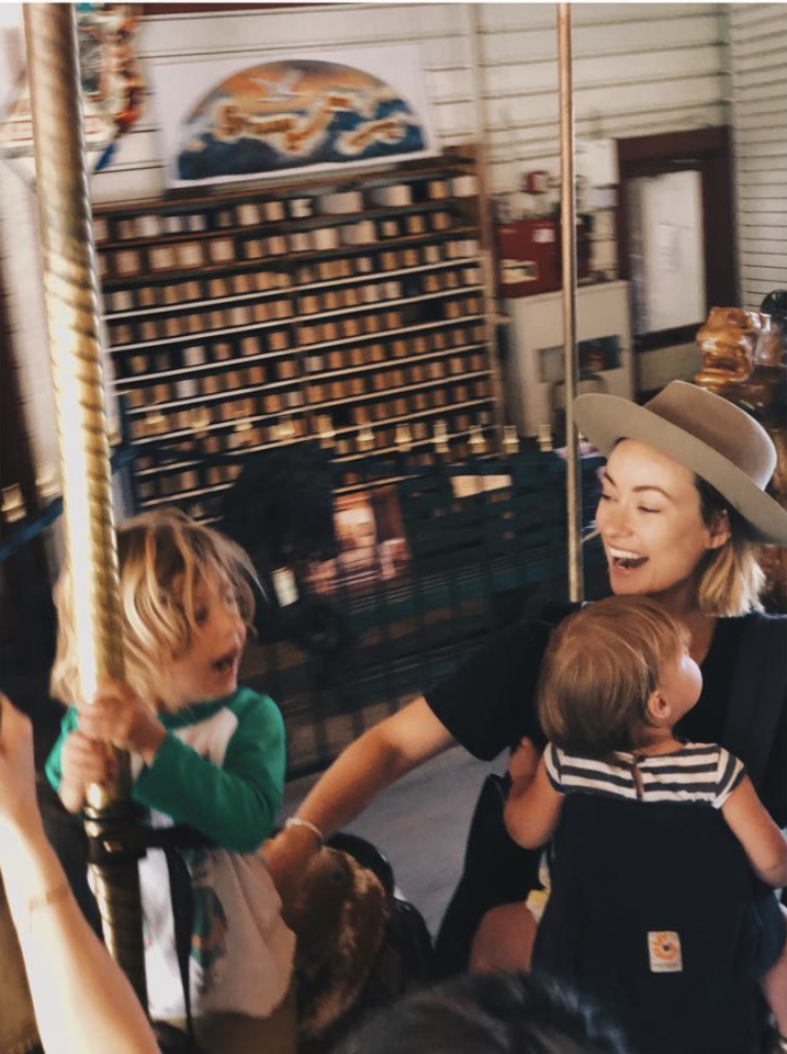 "<p>Wilde shared a photo of herself horsin' around with the little ones. ""Having two kids under 4 is BATS*** most of the time,"" the outspoken actress admitted. ""But occasionally I get it right and they agree to take me on a carousel ride."" (Photo: <a rel=""nofollow"" href=""https://www.instagram.com/p/BcjRHSvnGHO/?taken-by=oliviawilde"">Olivia Wilde via Instagram</a>) </p>"