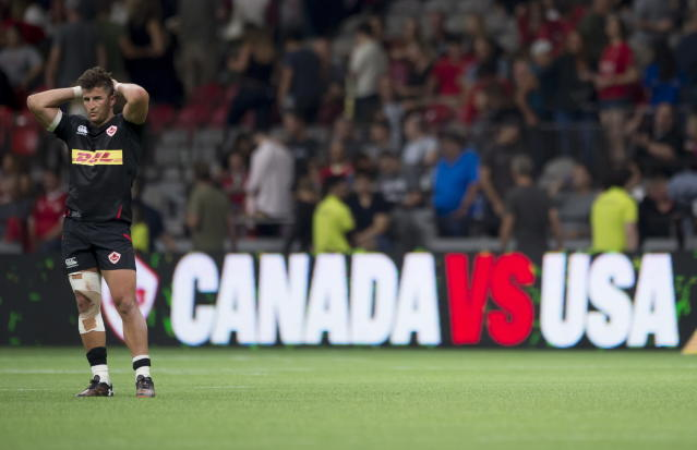 Canada's DTH Van Der Merwe reacts to the team's loss to the United States during a rugby match in Vancouver, British Columbia, Saturday, Sept. 7, 2019. (Jonathan Hayward/The Canadian Press via AP)