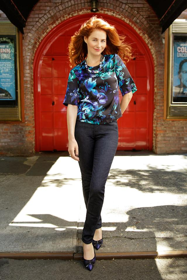 """<div class=""""caption-credit""""> Photo by: Ari Michelson</div><div class=""""caption-title"""">Tummy? What tummy?</div>These jeans have a panel in the front that flattens a belly, like built-in shapewear without the ouch. Wear them with a boxy top for stylish camouflage. <br> <br> Miraclebody Skinny Signature jeans, $110. Necklace, Adia Kibur, $92. Top, Vince Camuto, $99. Ring, Prima Donna, $8.99. Flats, Ivanka Trump, $130. <br> <br> <ul>  <li>  <b><a rel=""""nofollow"""" target="""""""" href=""""http://www.redbookmag.com/beauty-fashion/tips-advice/fall-2013-trends?link=rel&dom=yah_life&src=syn&con=blog_redbook&mag=rbk"""">39 Looks That Make Us Excited for Fall</a></b>  </li>  <li>  <a rel=""""nofollow"""" target="""""""" href=""""http://www.redbookmag.com/beauty-fashion/tips-advice/fall-cardigans?link=rel&dom=yah_life&src=syn&con=blog_redbook&mag=rbk""""><b>These Cardigans Will Be the Most Useful Items In Your Closet</b></a>  </li> </ul>"""