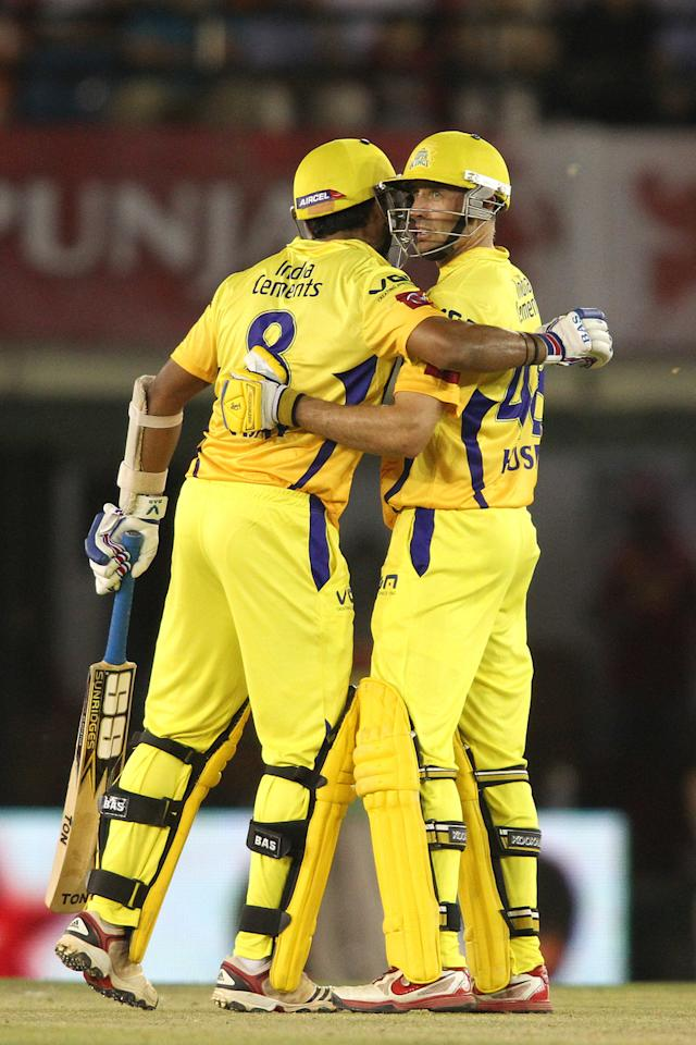 Murali Vijay of Chennai Super Kings congratulates Michael Hussey of Chennai Super Kings for reaching his fifty during match 11 of of the Pepsi Indian Premier League between The Kings XI Punjab and the Chennai Superkings held at the PCA Stadium, Mohal, India  on the 10th April 2013..Photo by Shaun Roy-IPL-SPORTZPICS  ..Use of this image is subject to the terms and conditions as outlined by the BCCI. These terms can be found by following this link:..https://ec.yimg.com/ec?url=http%3a%2f%2fwww.sportzpics.co.za%2fimage%2fI0000SoRagM2cIEc&t=1506152563&sig=RZI5tWp22H_nI4cVOPJTeA--~D