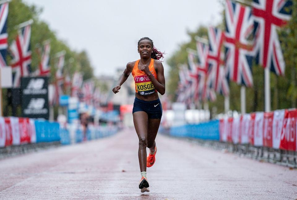 <p>Reigning London Marathon champ and world record holder Brigid Kosgei of Kenya win this year's race in 2:18:58.</p>