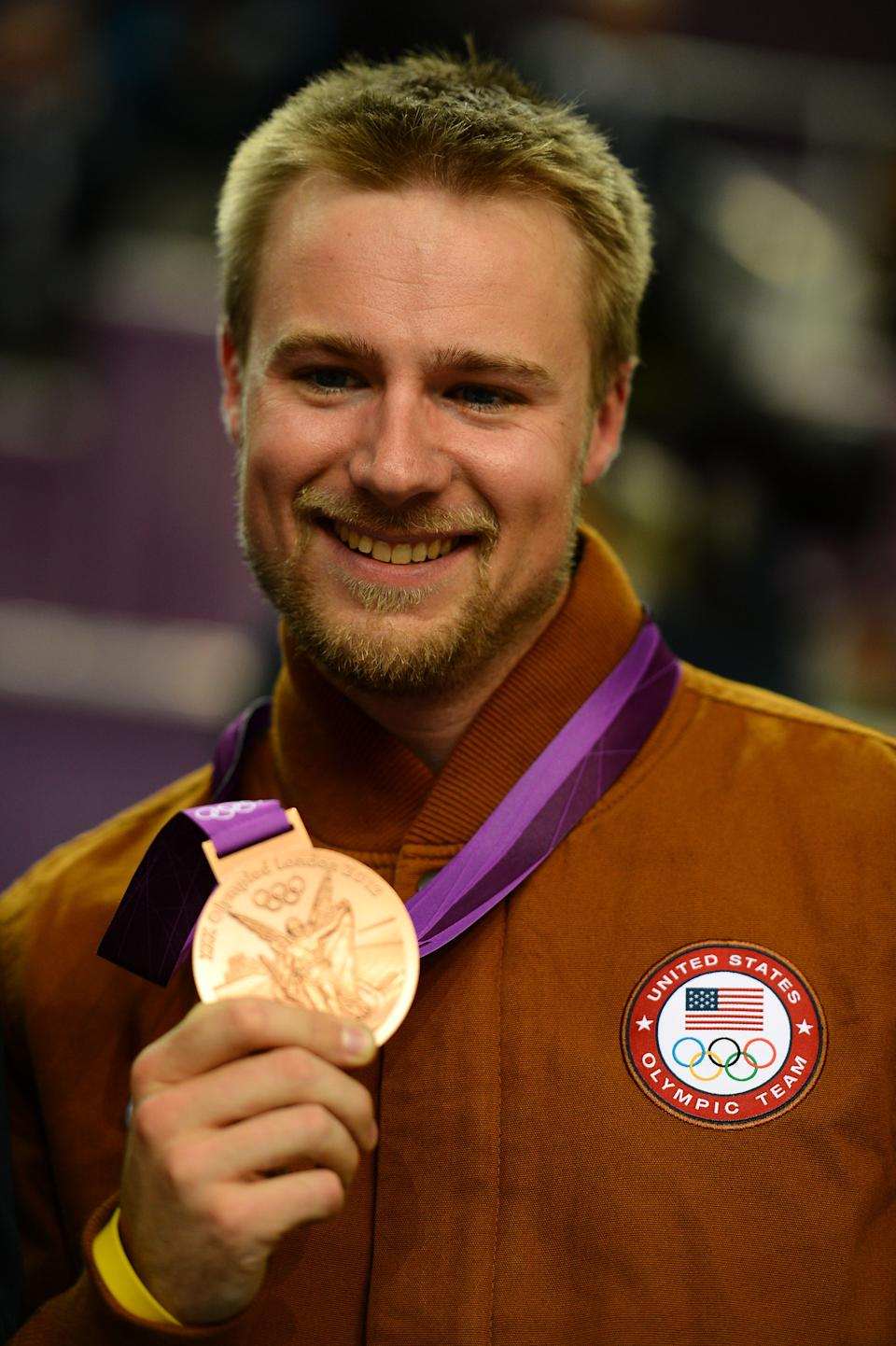 """<a href=""""http://sports.yahoo.com/olympics/shooting/matthew-emmons-1132818/"""" data-ylk=""""slk:Matthew Emmons"""" class=""""link rapid-noclick-resp"""">Matthew Emmons</a> of the United States won a bronze medal poses for the Men's 50m Rifle 3 Positions Shooting Final on Day 10 of the London 2012 Olympic Games at the Royal Artillery Barracks on August 6, 2012 in London, England. (Photo by Lars Baron/Getty Images)"""