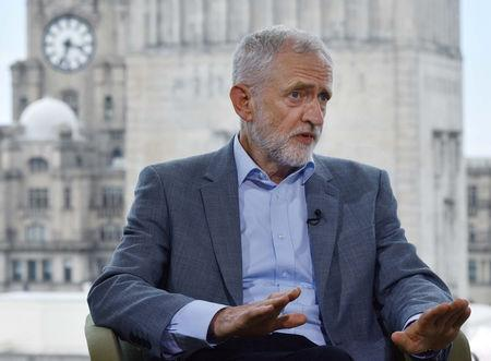 Britain's opposition Labour Party leader Jeremy Corbyn appears on BBC TV's The Andrew Marr Show in London