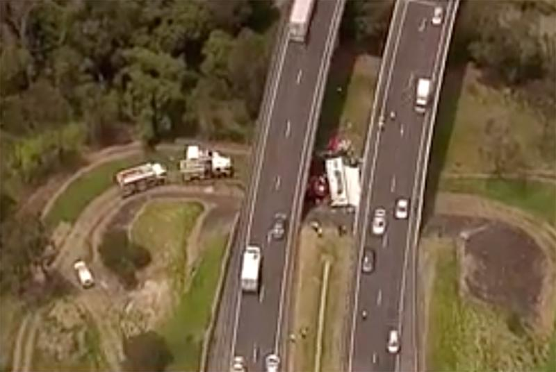 The truck veered off the Logan Motorway undetected on Tuesday night