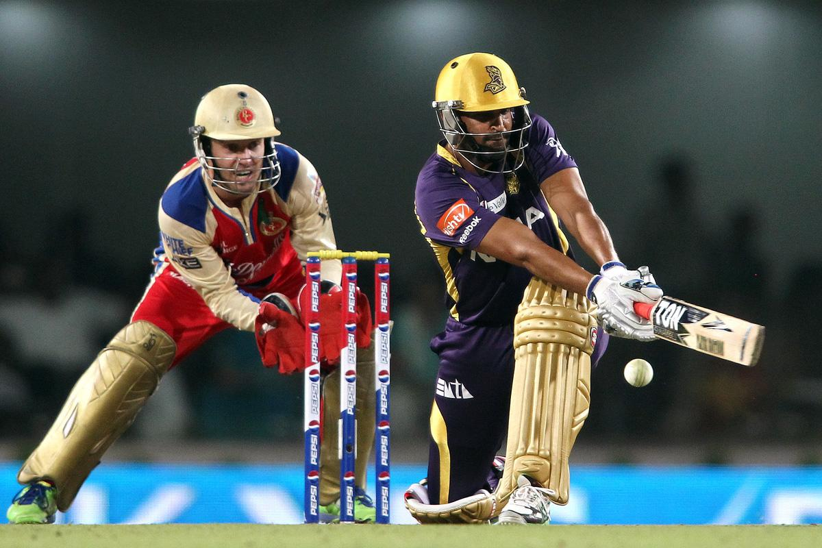 Yusuf Pathan of Kolkata Knight Riders gets trapped LBW while attempting to sweep a delivery during match 60 of the Pepsi Indian Premier League between The Kolkata Knight Riders and the Royal Challengers Bangalore held at the JSCA International Stadium Complex, Ranchi, India on the 12th May 2013. (BCCI)