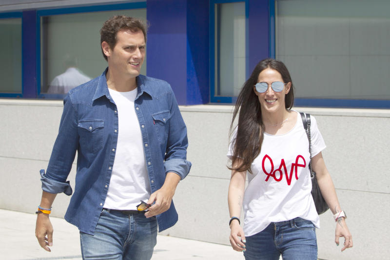 MOSTOLES, SPAIN - JULY 12: Albert Rivera and Malu are seen leaving the Mostoles Hospital on July 12, 2019 in Mostoles, Spain. (Photo by Europa Press Entertainment/Europa Press via Getty Images)