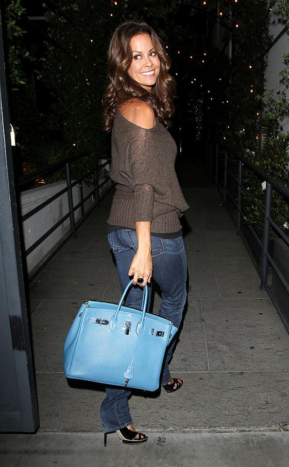"""Dancing With the Stars"" host Brooke Burke looked cute and casual as she exited the soiree toting a big blue Birkin bag. Hellmuth Dominguez/<a href=""http://www. PacificCoastNews.com"" target=""new"">PacificCoastNews.com</a> - August 30, 2010"