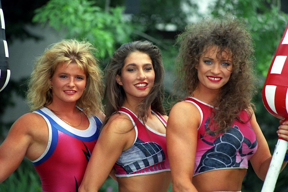(L-R) Lightning, Jet and Scorpio, of the ITV series Gladiators, in London. The super-fit gladiators will meet again in a series of spectacular games on ITV in the autumn as part of its new autumn schedule.   (Photo by Neil Munns - PA Images/PA Images via Getty Images)