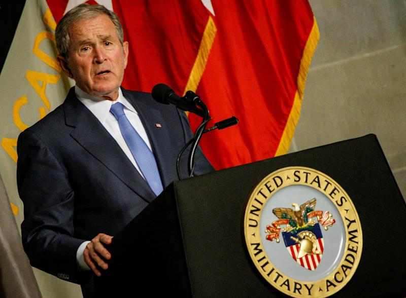 Former U.S. President George W. Bush speaks after being honored with the Sylvanus Thayer Award at the United States Military Academy in West Point, New York, on Oct. 19, 2017. (Brendan McDermid / Reuters)