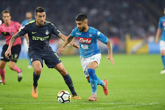 """<a class=""""link rapid-noclick-resp"""" href=""""/soccer/players/lorenzo-insigne/"""" data-ylk=""""slk:Lorenzo Insigne"""">Lorenzo Insigne</a> and <a class=""""link rapid-noclick-resp"""" href=""""/soccer/teams/napoli/"""" data-ylk=""""slk:Napoli"""">Napoli</a> were frustrated by Inter <a class=""""link rapid-noclick-resp"""" href=""""/soccer/teams/milan/"""" data-ylk=""""slk:Milan"""">Milan</a>. (Getty)"""