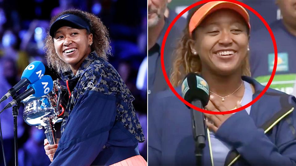 Seen here, Naomi Osaka at the 2021 Australian Open and also Indian Wells in 2018.