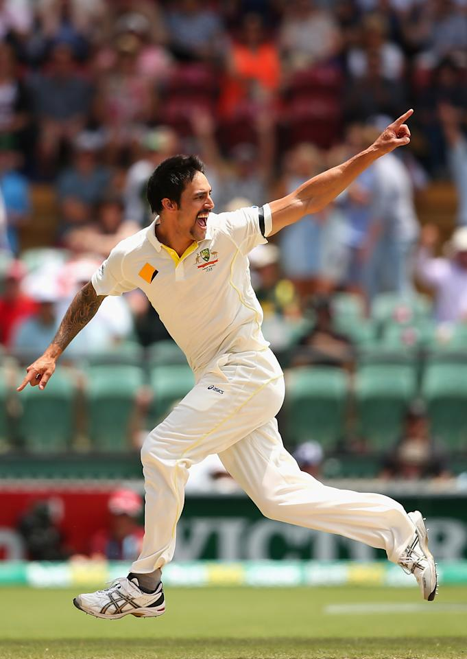 ADELAIDE, AUSTRALIA - DECEMBER 07: Mitchell Johnson of Australia celebrates after taking the wicket of Matt Prior of England during day three of the Second Ashes Test match between Australia and England at Adelaide Oval on December 7, 2013 in Adelaide, Australia.  (Photo by Quinn Rooney/Getty Images)