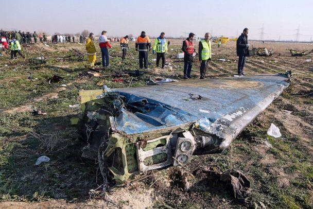 PHOTO: Rescue teams work at the scene of a Ukrainian airliner that crashed shortly after take-off near Imam Khomeini airport in the Iranian capital Tehran, Jan. 8, 2020. (Akbar Tavakoli/IRNA via AFP/Getty Images)