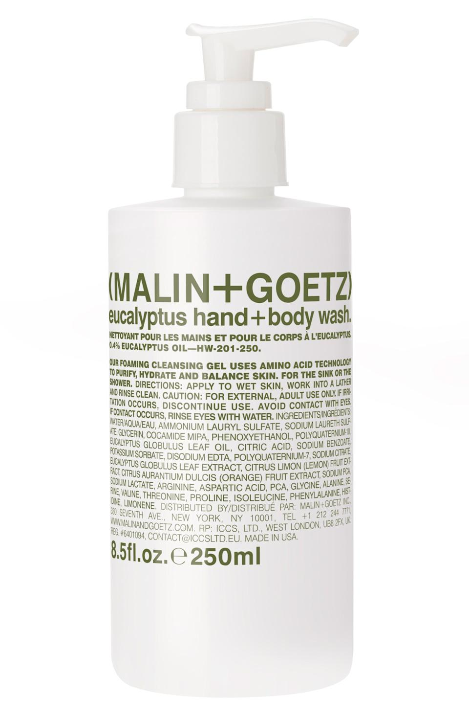 """<p><strong>MALIN+GOETZ</strong></p><p>nordstrom.com</p><p><strong>$24.00</strong></p><p><a href=""""https://go.redirectingat.com?id=74968X1596630&url=https%3A%2F%2Fshop.nordstrom.com%2Fs%2Fmalingoetz-eucalyptus-hand-body-wash%2F5464678&sref=https%3A%2F%2Fwww.harpersbazaar.com%2Fbeauty%2Fskin-care%2Fg33545040%2Fbest-hand-soap%2F"""" rel=""""nofollow noopener"""" target=""""_blank"""" data-ylk=""""slk:Shop Now"""" class=""""link rapid-noclick-resp"""">Shop Now</a></p><p>This decadent, lathering formula can be used on your hands or whole body. Either way, the formula gently cleanses and leaves behind the most refreshing eucalyptus scent. </p>"""