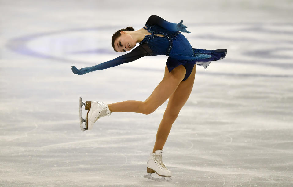 Russian skater Anna Shcherbakova performs during the Ladies Short Program at the Figure Skating World Championships in Stockholm, Sweden, Wednesday, March 24, 2021. (AP Photo/Martin Meissner)