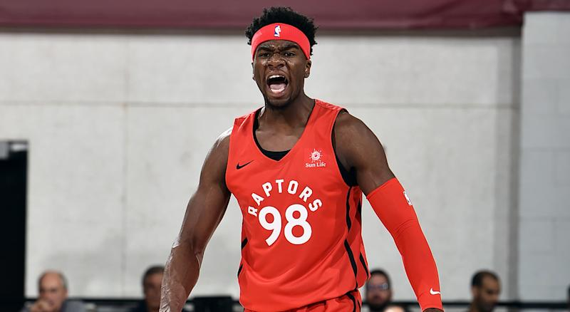Terence Davis of the Toronto Raptors reacts to a play during the game against the Indiana Pacers during Day 7 of the 2019 Las Vegas Summer League on July 11, 2019 at the Cox Pavilion in Las Vegas, Nevada. (Photo by David Dow/NBAE via Getty Images)