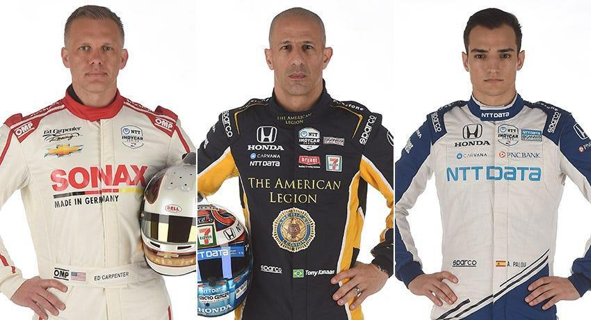 Ed Carpenter (from left), Tony Kanaan and Alex Palou, Row 2 for the 2021 Indianapolis 500.