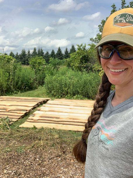 PHOTO: With help from her family, Lindsey Earle, of Prairie Hill Waldorf School in Pewaukee, Wisconsin, built an outdoor structure for the 13 students in her class amid the novel coronavirus pandemic. (Lindsey Earle)