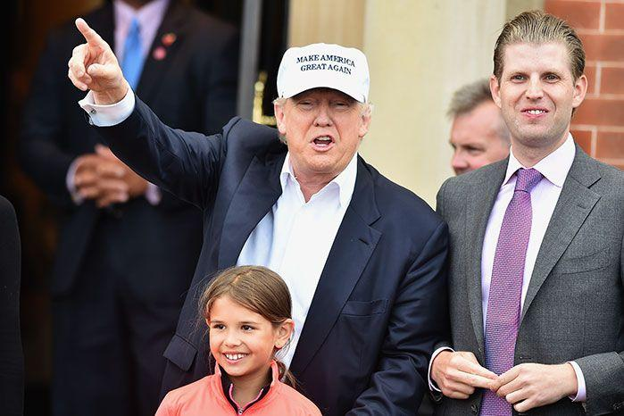Eric Trump with his father. Image: Getty