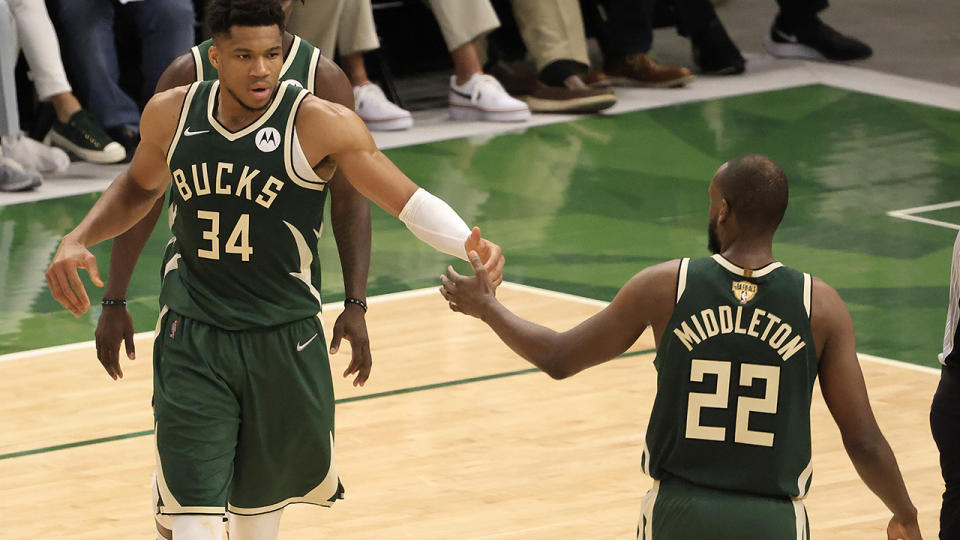 The Bucks rode an all-time game from Giannis Antetokounmpo and and improved showing from Khris Middleton to a game three win in the NBA Finals. (Photo by Justin Casterline/Getty Images)