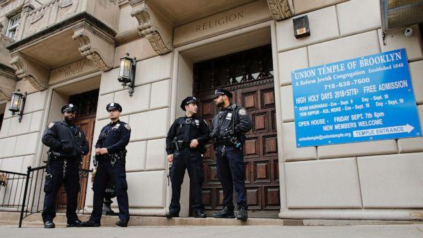 PHOTO: New York Police Department officers stand guard at the door of the Union Temple of Brooklyn on Nov. 2, 2018 in New York City. (AFP via Getty Images, FILE)