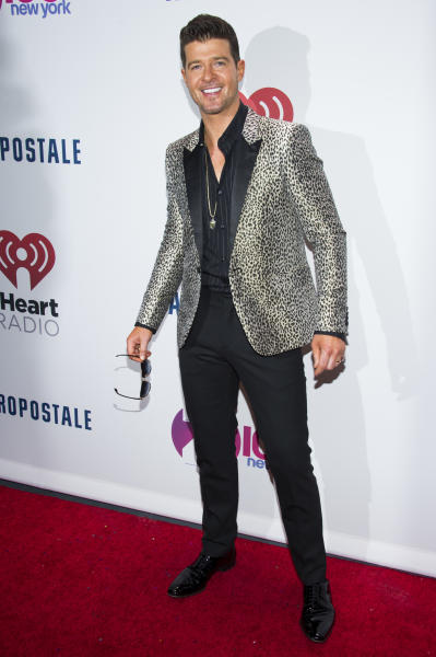 Robin Thicke attends Z100's Jingle Ball presented by Aeropostale on Friday, Dec. 13, 2013, in New York. (Photo by Charles Sykes/Invision/AP)