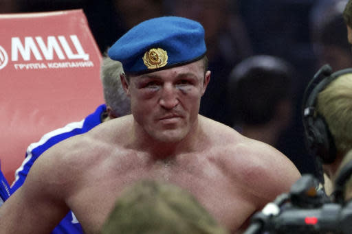 FILE - In this Saturday, Dec. 3, 2016 file photo, Russia's Denis Lebedev reacts after losing the IBF cruiserweight title bout against Russia's Murat Gassiev in Moscow, Russia. Former world cruiserweight boxing champion Denis Lebedev has retired aged 39 after a lengthy and colorful career, it was announced Thursday, July 11, 2019. (AP Photo/Ivan Sekretarev, File)