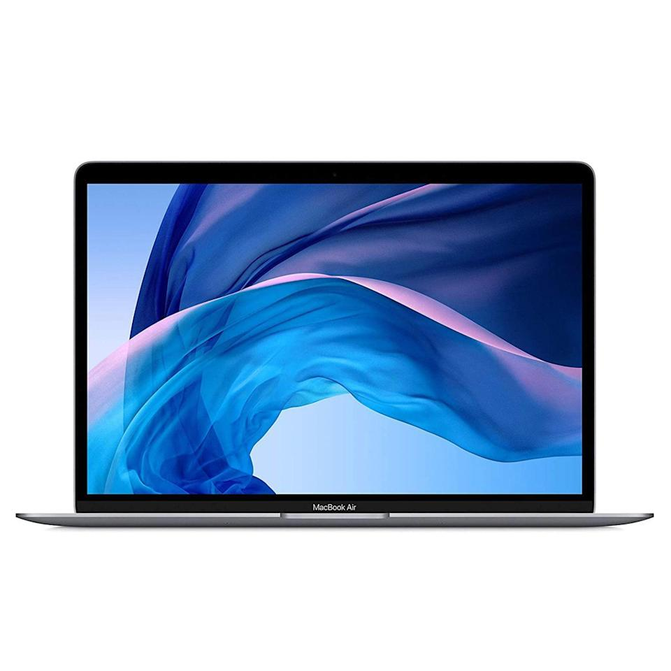 """<p><strong>Apple</strong></p><p>amazon.com</p><p><strong>$949.00</strong></p><p><a href=""""https://www.amazon.com/dp/B0863D4XJW?tag=syn-yahoo-20&ascsubtag=%5Bartid%7C2089.g.864%5Bsrc%7Cyahoo-us"""" rel=""""nofollow noopener"""" target=""""_blank"""" data-ylk=""""slk:Shop Now"""" class=""""link rapid-noclick-resp"""">Shop Now</a></p><p>The latest MacBook Air has improved hardware specs, headlined by an upgraded Retina display, an optional quad-core Intel processor, and more storage, among others. Crucially, the notebook has the same iconic wedge design that made its predecessors so popular.</p><p>Apple has used recycled aluminum in the manufacturing process of the MacBook Air. There are three colors to pick from: silver, space gray, and gold.</p><p><strong>More:</strong> <a href=""""https://www.bestproducts.com/tech/gadgets/a31954155/apple-macbook-air-review-2020/"""" rel=""""nofollow noopener"""" target=""""_blank"""" data-ylk=""""slk:Our Review of the New MacBook Air"""" class=""""link rapid-noclick-resp"""">Our Review of the New MacBook Air</a></p>"""