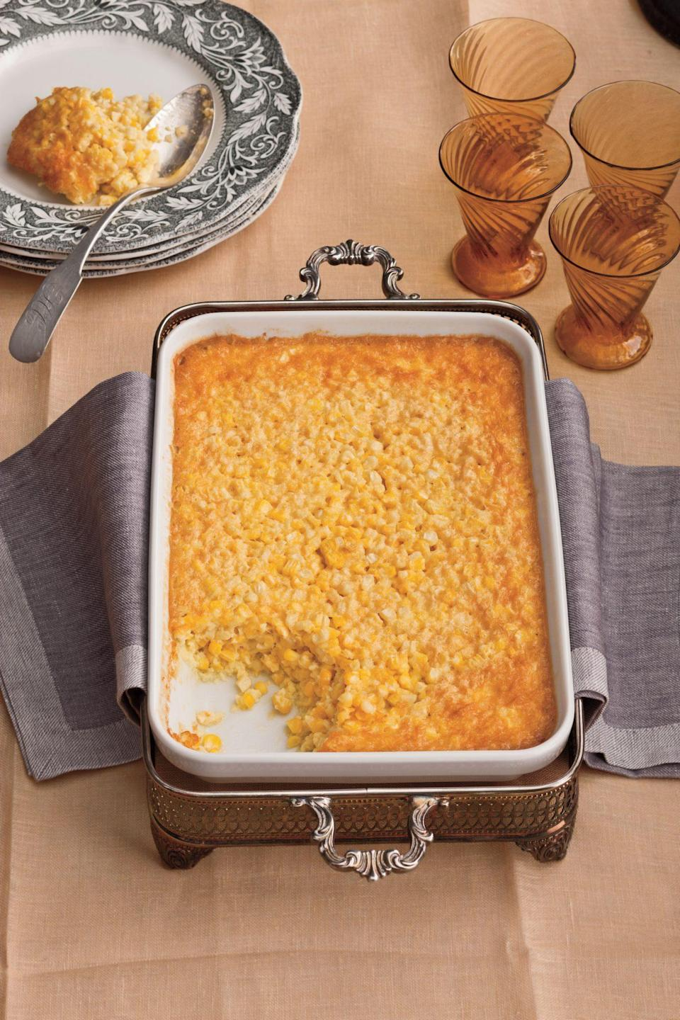 """<p><strong>Recipe: <a href=""""https://www.southernliving.com/recipes/tees-corn-pudding-recipe"""" rel=""""nofollow noopener"""" target=""""_blank"""" data-ylk=""""slk:Tee's Corn Pudding"""" class=""""link rapid-noclick-resp"""">Tee's Corn Pudding</a></strong></p> <p>This classic holiday side requires just eight ingredients and a few stirs before it's ready to bake. </p>"""