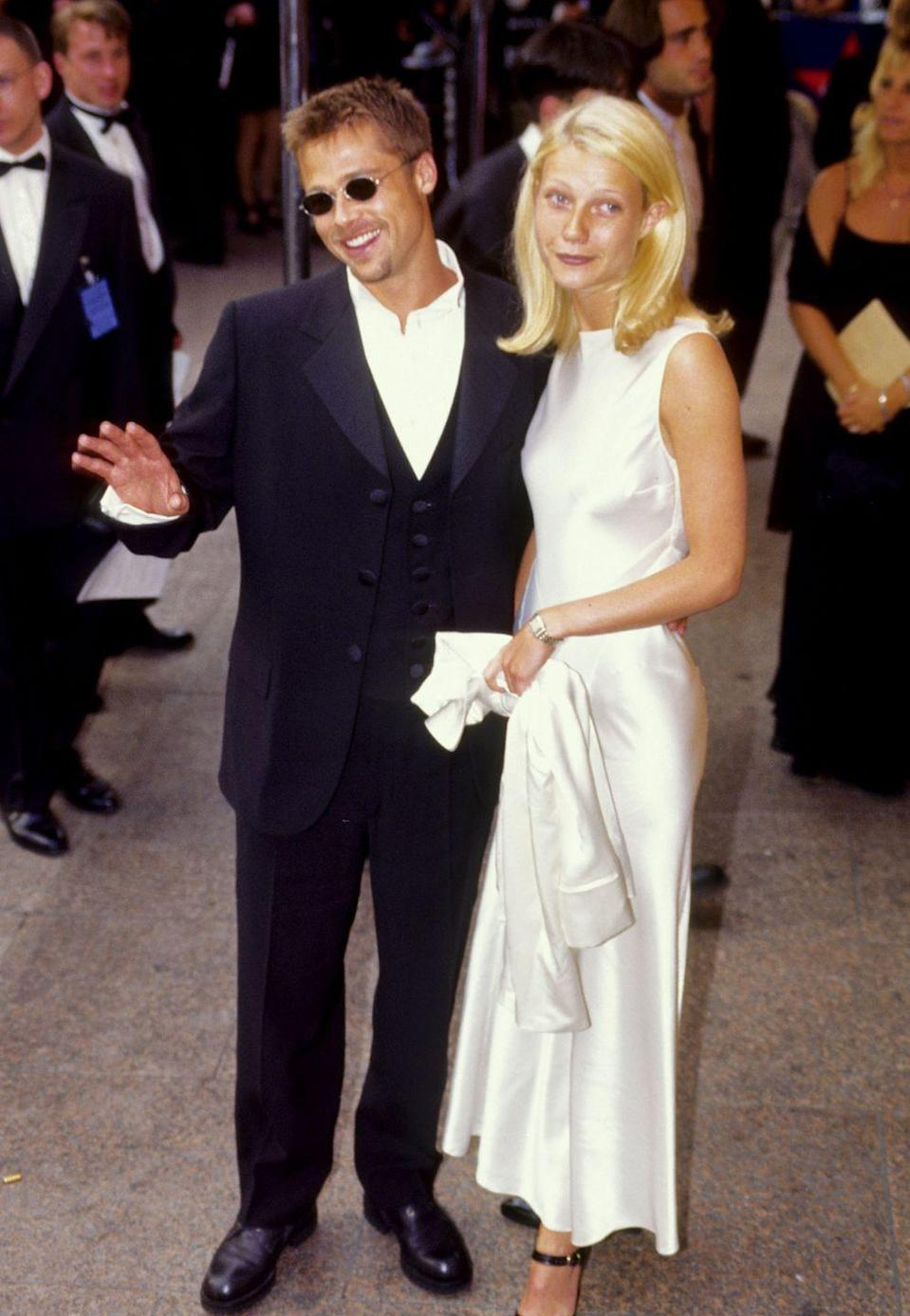 """<p>Pitt and Gwyneth Paltrow met in 1994 on the set of <em>Se7en </em>and quickly became the """"it"""" couple of Hollywood. They went on to get engaged before eventually breaking it off in 1997.</p>"""