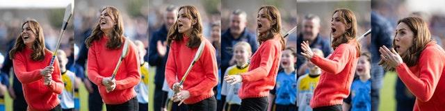 A composite image of the Duchess of Cambridge trying her hand at hurling at Salthill Knocknacarra GAA Club in Galway