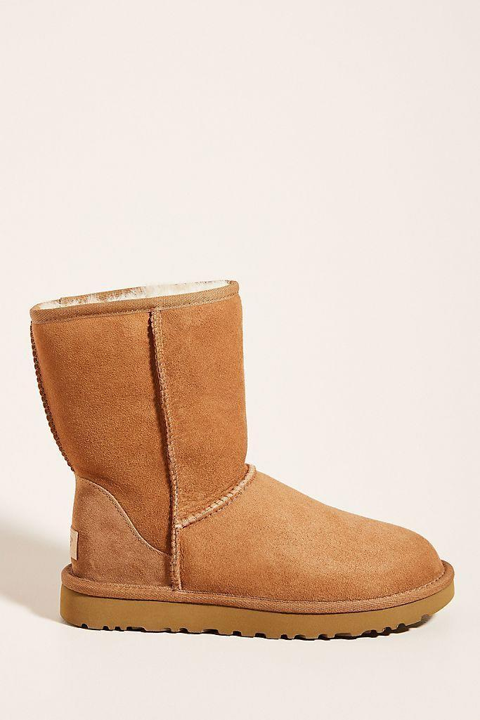 "<p><strong>UGG </strong></p><p>anthropologie.com</p><p><strong>$170.00</strong></p><p><a href=""https://go.redirectingat.com?id=74968X1596630&url=https%3A%2F%2Fwww.anthropologie.com%2Fshop%2Fugg-classic-short-ii-boots3&sref=https%3A%2F%2Fwww.townandcountrymag.com%2Fstyle%2Ffashion-trends%2Fg28225508%2Ffall-boots%2F"" rel=""nofollow noopener"" target=""_blank"" data-ylk=""slk:Shop Now"" class=""link rapid-noclick-resp"">Shop Now</a></p><p>These classic UGG boots have been a fall go-to for years for a reason: there's nothing cozier. </p>"