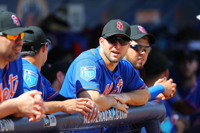 <p>New York Mets Tim Tebow wears a Marjory Stoneman Douglas cap in dugout before the baseball game against the Atlanta Braves at First Data Field in Port St. Lucie, Fl., Feb. 23, 2018. (Photo: Gordon Donovan/Yahoo News) </p>