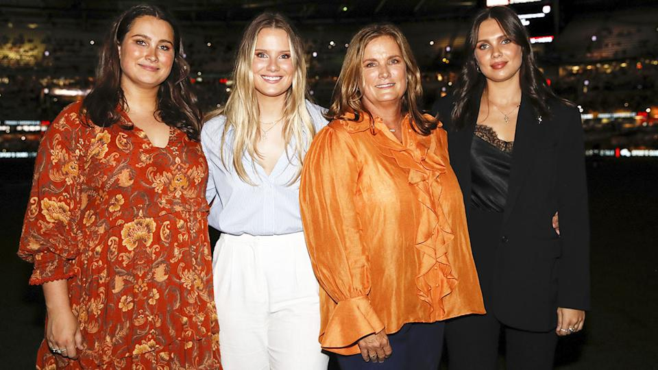 Danny Frawley's wife Anita, pictured here with daughters Chelsea, Keeley and Danielle.