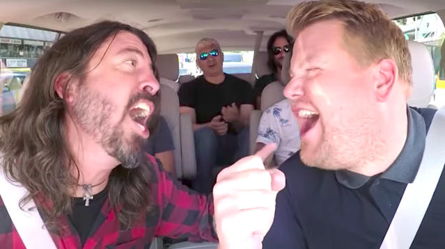 """James Corden couldn't resist breaking out the imaginary drumsticks for his latest """"Carpool Karaoke."""""""
