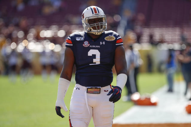 Auburn. DL Marlon Davidson finished his career with 51 starts. (Photo by Mark LoMoglio/Icon Sportswire via Getty Images)