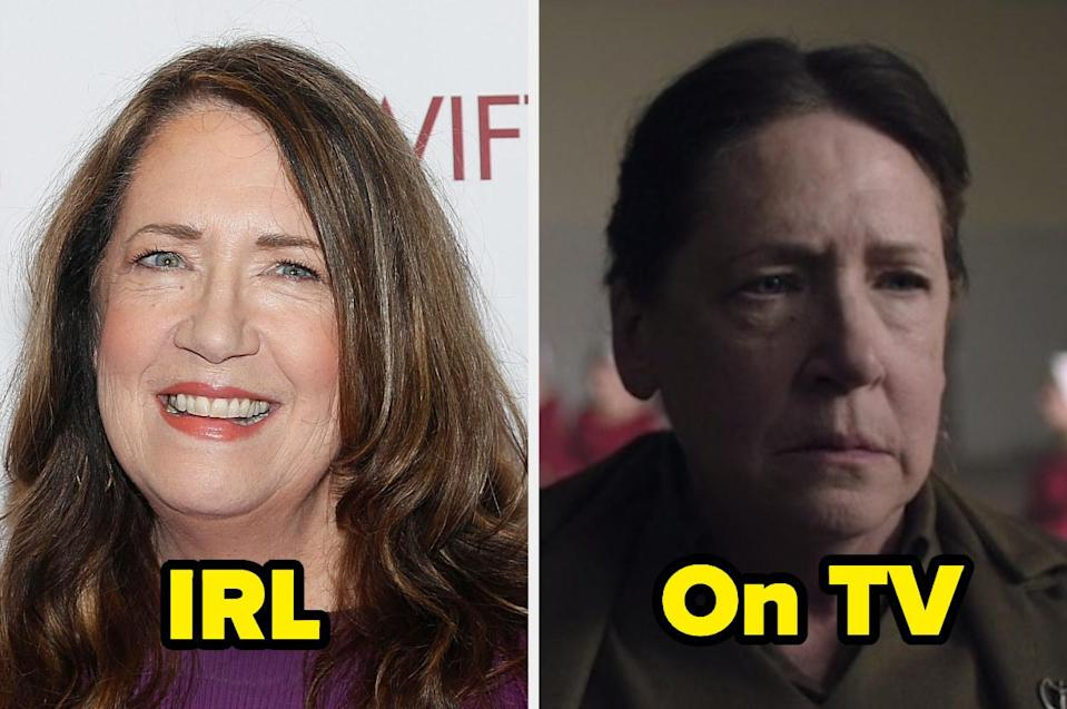 """<div><p>""""Ann is such a talented actor and always seems like a really nice person in interviews, but my god, Aunt Lydia is the worst.""""</p><p>—<a href=""""https://www.buzzfeed.com/emmanz"""" rel=""""nofollow noopener"""" target=""""_blank"""" data-ylk=""""slk:Bagel"""" class=""""link rapid-noclick-resp"""">Bagel</a></p></div><span> Getty Images / Hulu</span>"""