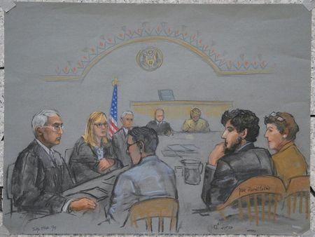A courtroom sketch shows Boston Marathon bombing suspect Dzhokhar Tsarnaev (2nd R) during the jury selection process in his trial at the federal courthouse in Boston, Massachusetts January 15, 2015. REUTERS/Jane Flavell Collins