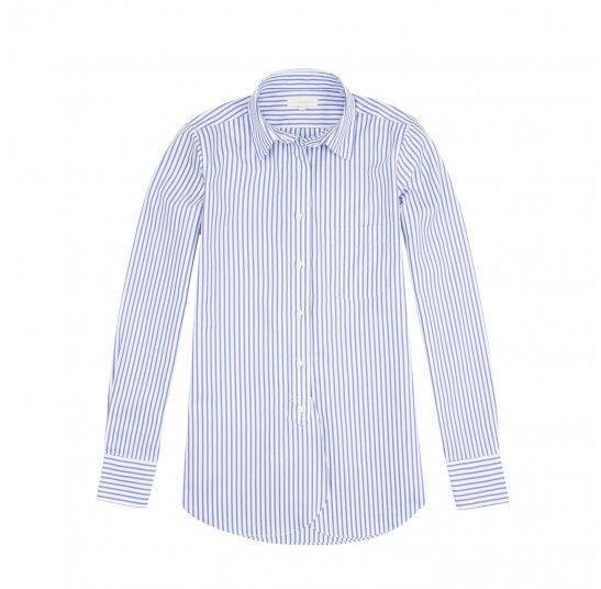 """<p><strong>Ann Mashburn </strong></p><p>annmashburn.com</p><p><strong>$87.50</strong></p><p><a href=""""https://www.annmashburn.com/periwinkle-cambridge-stripe-pinpoint-ann-boyfriend-shirt.html"""" rel=""""nofollow noopener"""" target=""""_blank"""" data-ylk=""""slk:Shop Now"""" class=""""link rapid-noclick-resp"""">Shop Now</a></p><p>A classic button-down is an easy choice for breezing through an airport (and comes in handy when dressing for a day about town). We love this one from Ann Mashburn for its loose fit. </p>"""