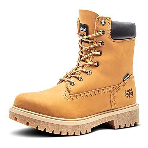 """<p><strong>Timberland Pro</strong></p><p>amazon.com</p><p><strong>$134.95</strong></p><p><a href=""""https://www.amazon.com/dp/B000XEJA1I?tag=syn-yahoo-20&ascsubtag=%5Bartid%7C10054.g.12486892%5Bsrc%7Cyahoo-us"""" rel=""""nofollow noopener"""" target=""""_blank"""" data-ylk=""""slk:Shop Now"""" class=""""link rapid-noclick-resp"""">Shop Now</a></p><p>Take a look at these boots. What do you see? A pair of wheat Timbs, yes, but it's a lot more. From the height to the sole, Timberland Pro brings the extra, work-ready features to its tough boots. This pair has a soft toe, which means you still need to be mindful of tools and debris, but a whole heap of comfort- and safety-enhancing elements mean it's made for an all-day job.</p>"""