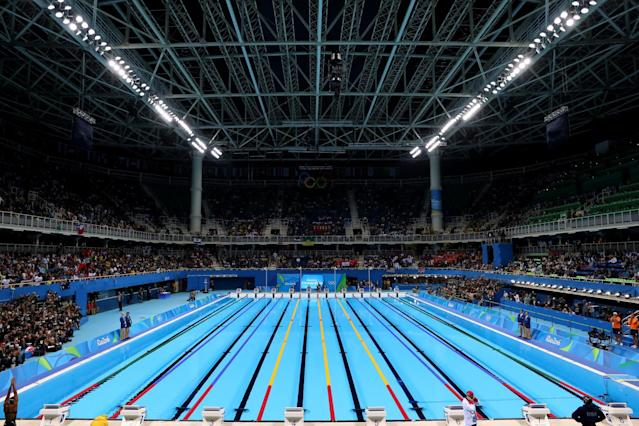 <p>The Olympic Aquatics Stadium before…(Tom Pennington/Getty Images) </p>