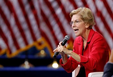 U.S. Democratic presidential candidate Senator Warren (D-MA) responds to a question during a forum held by gun safety organizations the Giffords group and March For Our Lives in Las Vegas