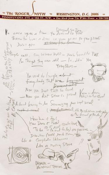 """This undated photo provided by Sotheby's shows a page from a working draft of Bob Dylan's """"Like a Rolling Stone,"""" one of the most popular songs of all time. The draft, in Dylan's own hand, is coming to auction in New York on June 24, 2014 where it could fetch an estimated $1 million to $2 million. Sotheby's says it is """"the only known surviving draft of the final lyrics for this transformative rock anthem."""" (AP Photo/Sotheby's)"""