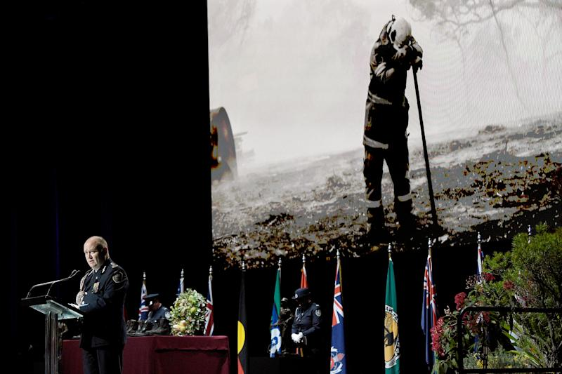 Commissioner of the New South Wales Rural Fire Service Shane Fitzsimmons speaks during the Bushfire State Memorial