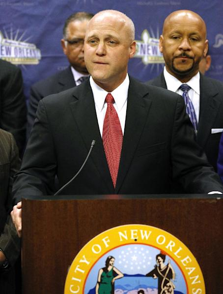 "New Orleans Mayor Mitch Landrieu speaks during a news conference at City Hall in New Orleans, Tuesday, Feb. 5, 2013. Landrieu said that the outage won't hurt the city's chances of hosting another Super Bowl and he joked that the game got better after the blackout. ""That 34 minutes is not going to cast a shadow over the accomplishments of the city,"" Landrieu said, calling the event ""as near-perfect a Super Bowl as the country has ever seen."" He added that officials estimate the game brought $432 million into the city. (AP Photo/Jonathan Bachman)"