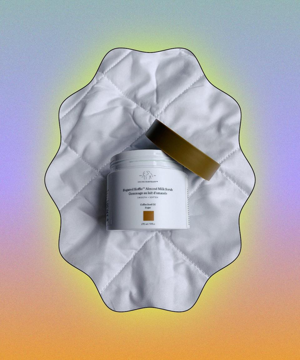 """Calling all coffee lovers! This almond milk body scrub is incredible. With coffee seed oil and chunky sugar granules, it's on the right side of gritty and feels super invigorating. It woke me up in the morning and made my skin smooth and moisturised. It smells so good, I'm tempted to keep the empty tub...<br><br><strong>Drunk Elephant</strong> Sugared Koffie Almond Milk Scrub, $, available at <a href=""""https://www.cultbeauty.co.uk/drunk-elephant-sugared-koffie-almond-milk-scrub.html"""" rel=""""nofollow noopener"""" target=""""_blank"""" data-ylk=""""slk:Cult Beauty"""" class=""""link rapid-noclick-resp"""">Cult Beauty</a>"""