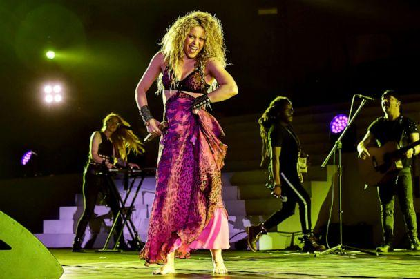 PHOTO: Colombian singer Shakira performs during the opening ceremony of the 2018 Central American and Caribbean Games (CAC), at the Metrpolitano stadium in Barranquilla, Colombia, July 19, 2018. (Luis Robayo/AFP/Getty Images, FILE)